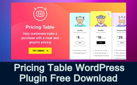 Pricing Table WordPress Pricing Table Plugin Free Download