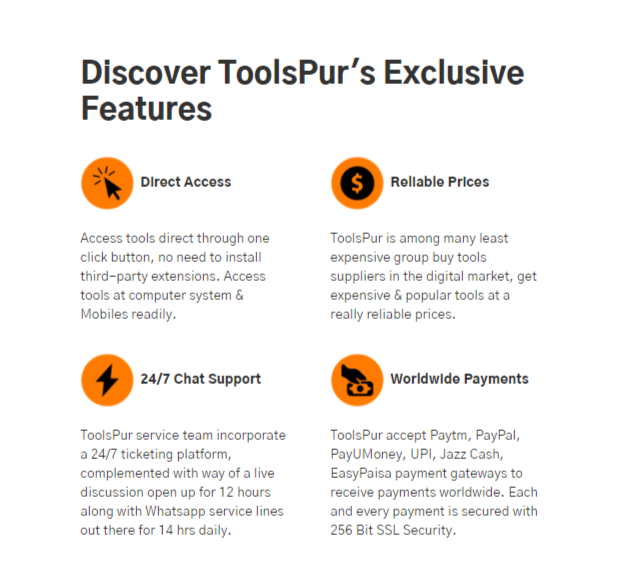 Features Of Toolspur Services
