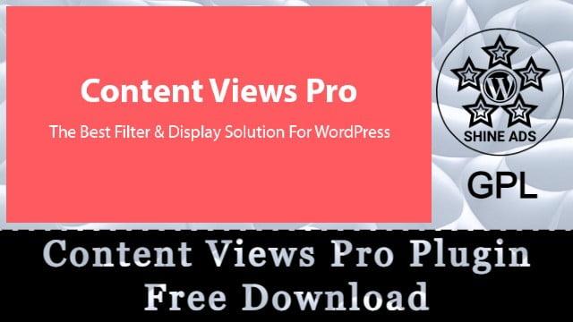 Content Views Pro Plugin Free Download