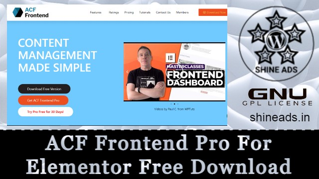 ACF Frontend Pro For Elementor Free Download